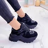 Женские кроссовки ЗИМА / зимние черные на платформе 6 см эко кожа + замша, фото 2