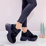 Женские кроссовки ЗИМА / зимние черные на платформе 6 см эко кожа + замша, фото 5