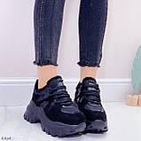 Женские кроссовки ЗИМА / зимние черные на платформе 6 см эко кожа + замша, фото 7