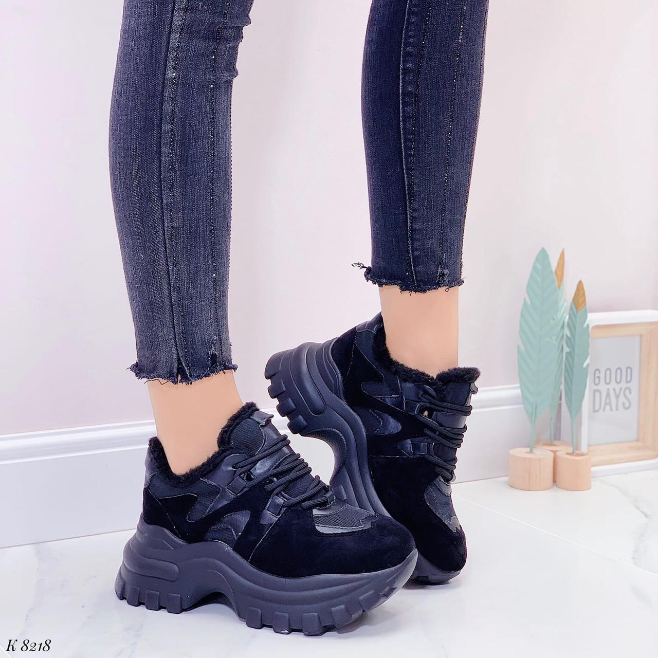 Женские кроссовки ЗИМА / зимние черные на платформе 6 см эко кожа + замша