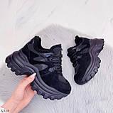Женские кроссовки ЗИМА / зимние черные на платформе 6 см эко кожа + замша, фото 6