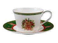 Чашка с блюдцем Новогодняя коллекция зеленая, фото 1