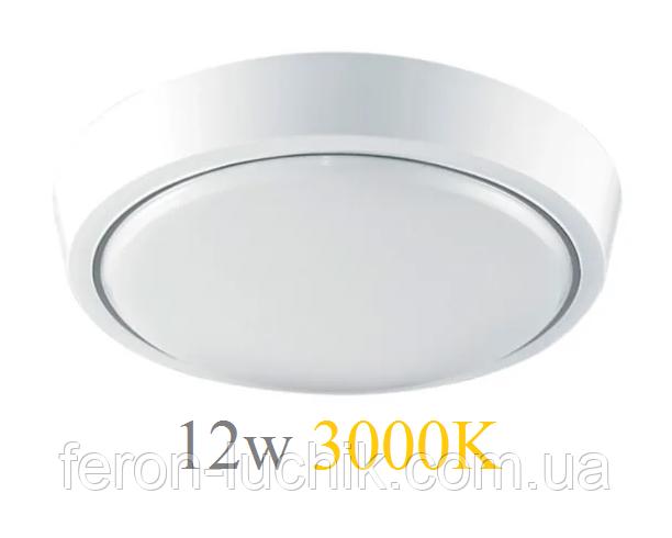 Настенно-потолочный светильник 12W 3000K 220V IP44 светодиодный круглая LED