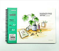 """Скетчбук для рисования """"Marker Pad"""" боковая спираль, А4, 285Х212мм. 160гр/м2 (193058-2, 1/92)"""