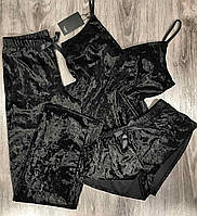 Пижама женская майка, шорты, штаны- комплект тройка