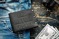 Мужской кожаный кошелек ТатуНаКоже, криминальное чтиво черный