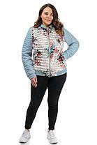 Молодёжная стёганная  демисезонная куртка в цветочном , принте  48-56, фото 2