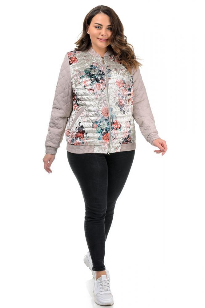 Молодёжная стёганная  демисезонная куртка в цветочном , принте  48-56