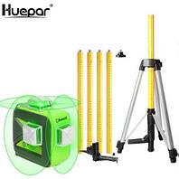 ☀Лазерный уровень Huepar 3D HP-603CG + распорная штанга-штатив 3.7 м HUEPAR, фото 1
