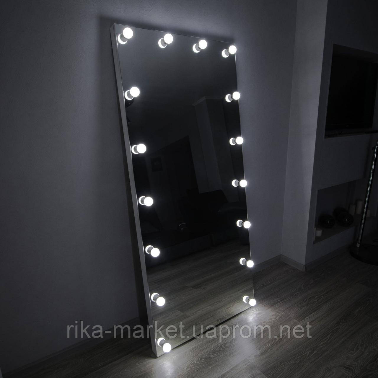 Гримерное бескаркасное  зеркало с подсветкой  в полный рост