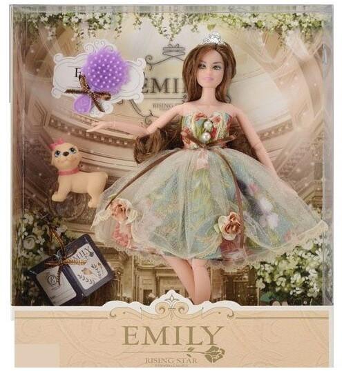 Кукла Emily с длинными волосами, с расчёской и собачкой (QJ 078 B), 29 см