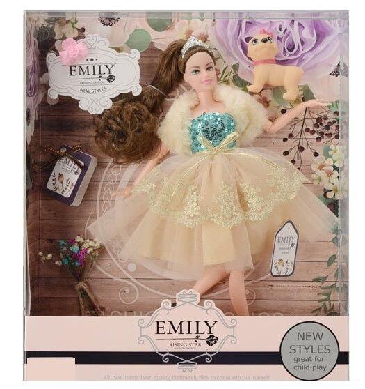 Кукла Emily с длинными волосами, с собачкой и цветами (QJ 079 C), 29 см