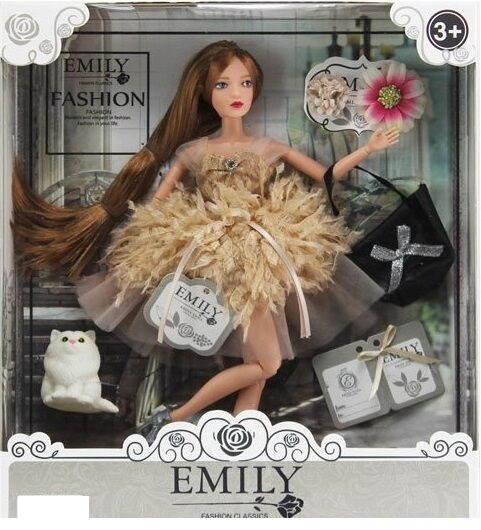 Кукла Emily с длинными волосами, с кошечкой и сумочкой (QJ 090 D), 29 см