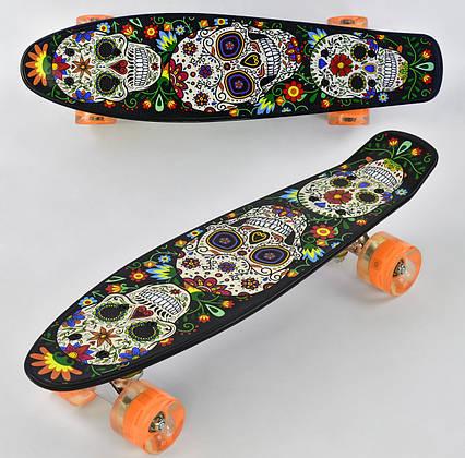 Детский скейт пенниборд с рисунком и светящимися бесшумными колёсами, Best Board Р 15909