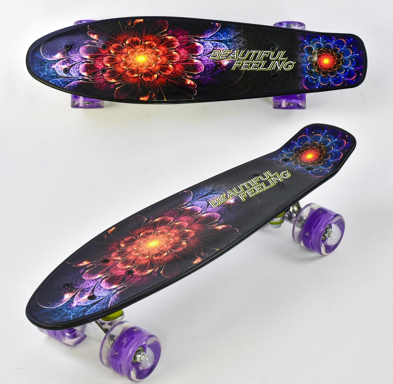 Детский скейт пенниборд с рисунком и светящимися бесшумными колёсами, Best Board F 8740