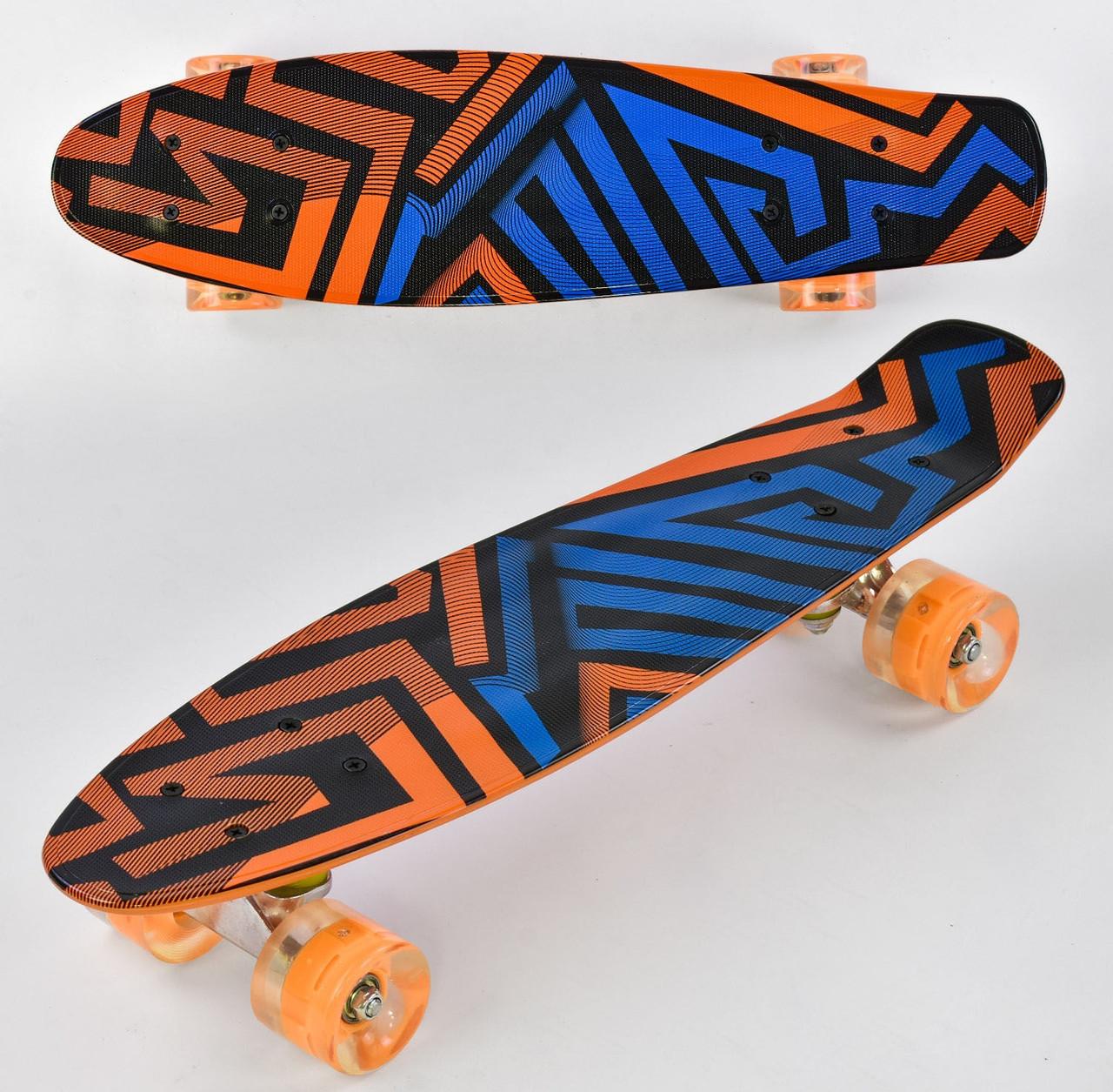 Детский скейт пенниборд с рисунком и светящимися бесшумными колёсами, Best Board F 7620