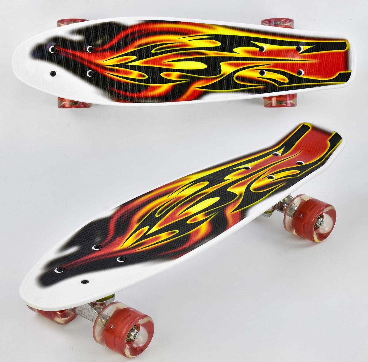 Детский скейт пенниборд с рисунком и светящимися бесшумными колёсами, Best Board F 4380