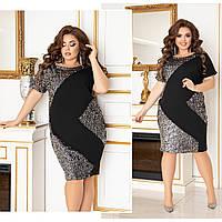 Женское прямое черное платье с пайетками зигзагом батал, фото 1