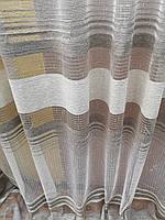 Тюль лен с бархатной полосой в бежевых тонах