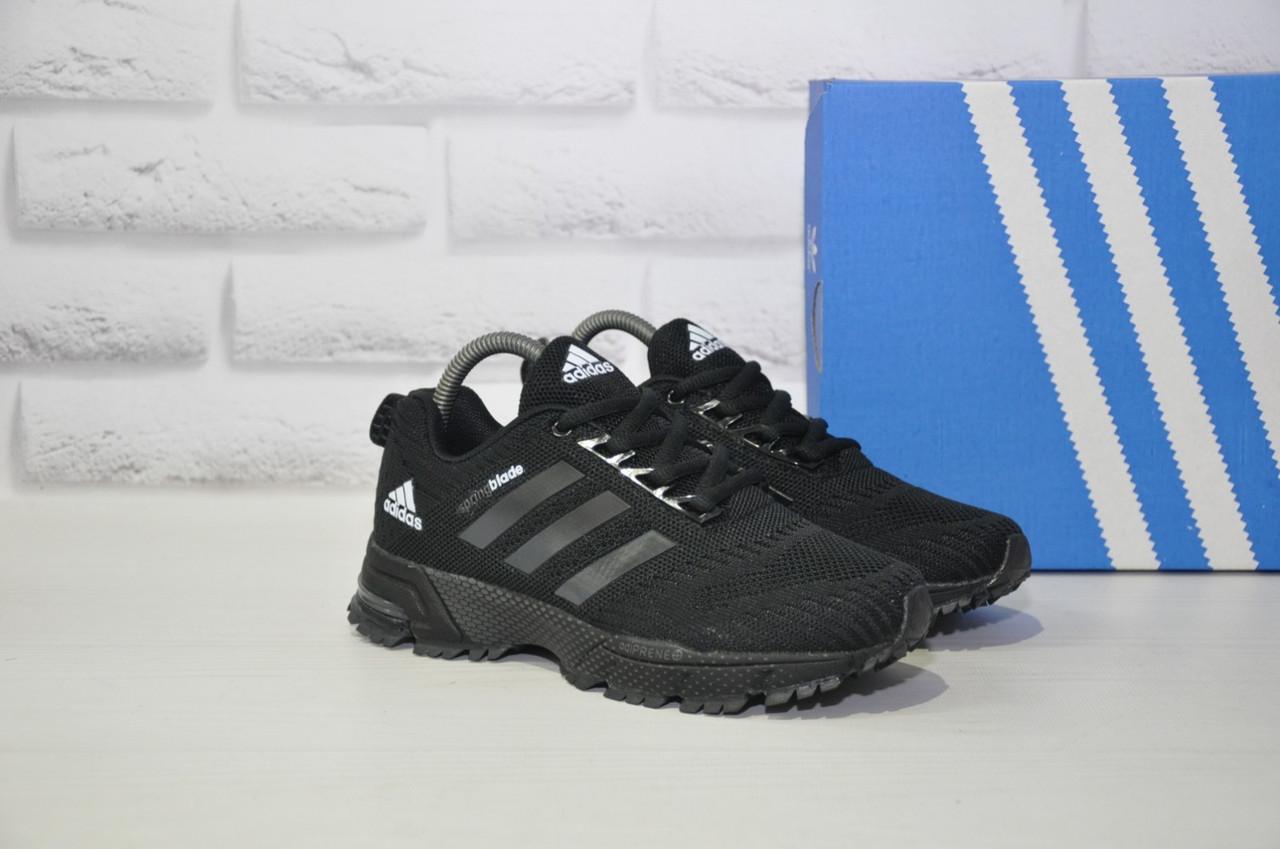 Кроссовки подростковые черные сетка в стиле Adidas Springblade унисекс