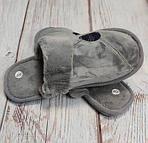 Мужские домашние теплые комнатные тапочки тапки серые 40/41р 26.5-27см, фото 2