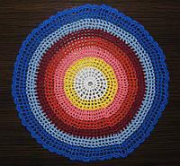 Салфетка цветовой релакс круглая,D 30 см., вязаная крючком, ручная работа.