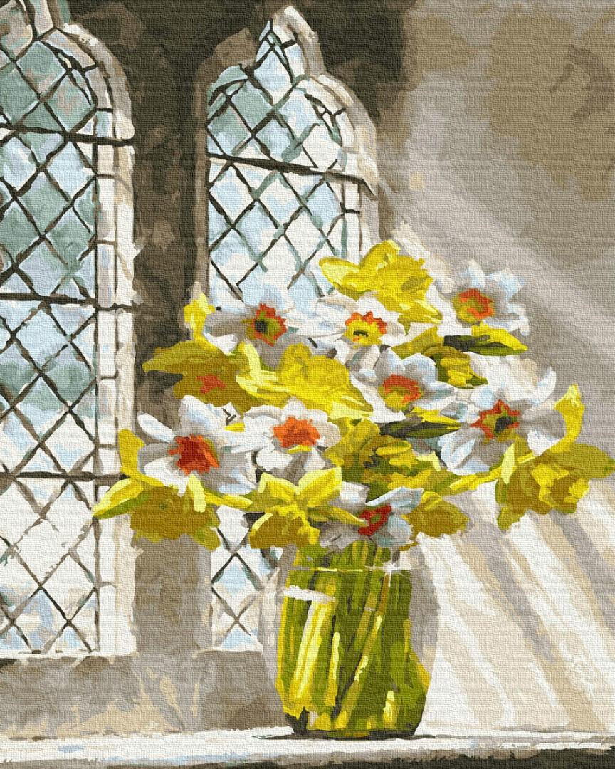 Картина по номерам Букет нарциссов на окне 40х50 см, BrushMe (GX23825)