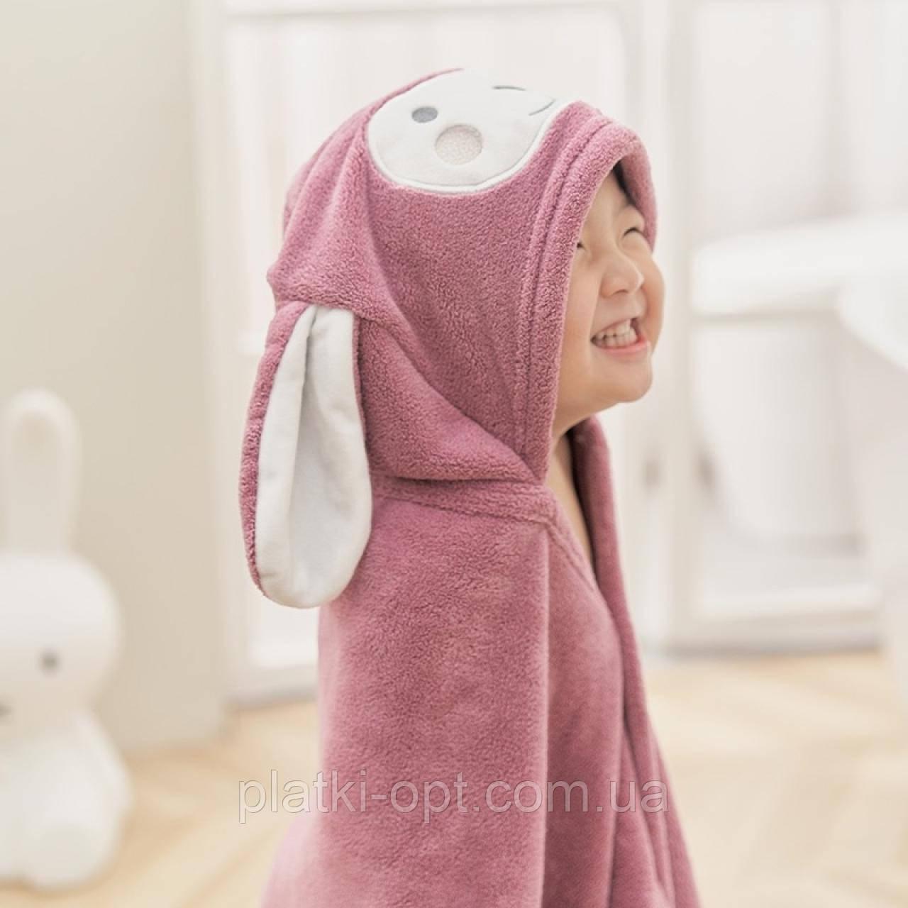 Детский плед с уголком Зайчик (розовый)