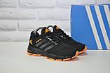 Кроссовки подростковые черные с оранжевым сетка в стиле Adidas Springblade унисекс, фото 5