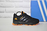 Кроссовки подростковые черные с оранжевым сетка в стиле Adidas Springblade унисекс, фото 2