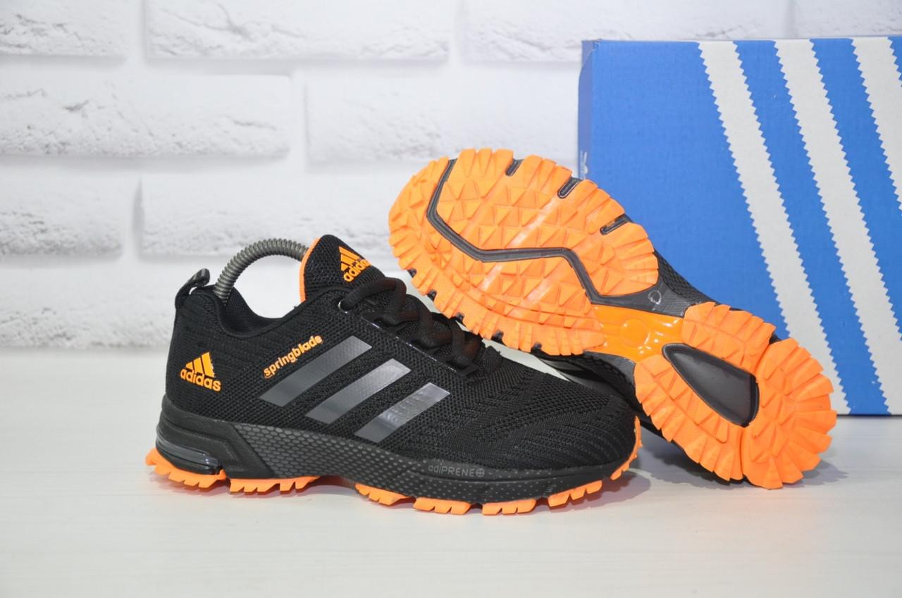 Кроссовки подростковые черные с оранжевым сетка в стиле Adidas Springblade унисекс