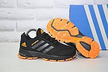 Кросівки підліткові чорні з помаранчевим сітка в стилі Adidas Springblade унісекс