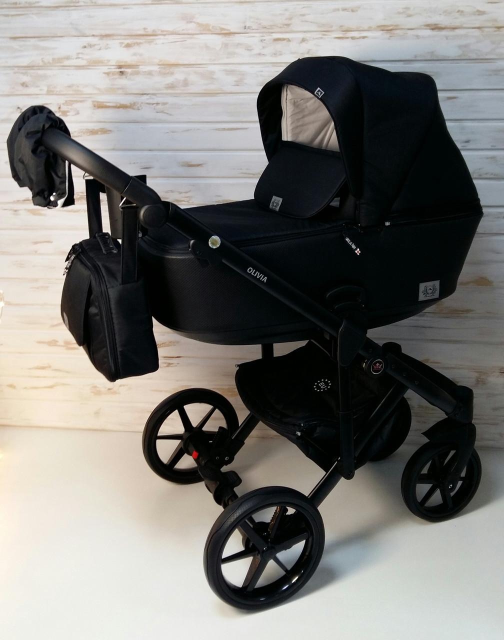 Дитяча універсальна коляска 2 в 1, Коляска Adamex Olivia, Чорна тканина, чорна перфорована еко-шкіра