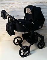 Дитяча універсальна коляска 2 в 1, Коляска Adamex Olivia, Чорна тканина, чорна перфорована еко-шкіра, фото 1