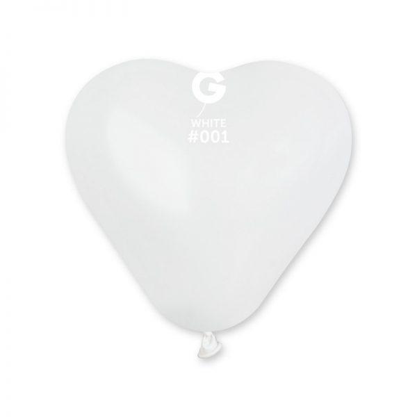 """Латексна кулька серце білий 6""""/001/16см"""
