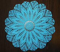 Салфетка Синий цветок, вязаная крючком, ручная работа. Отличный подарок на День Рождения