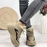 Женские спортивные ботинки / кроссовки ЗИМА бежевые эко замш, фото 2