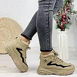 Женские спортивные ботинки / кроссовки ЗИМА бежевые эко замш, фото 7