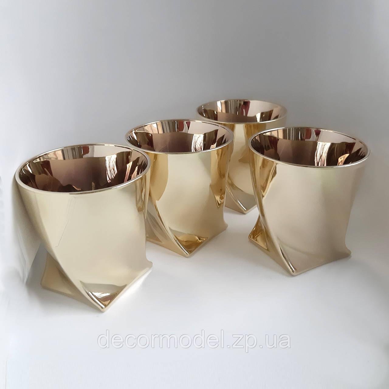 Набор стаканов для виски 6 шт Bohemia Quadro 340 мл золото