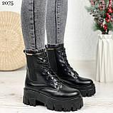 Женские ботинки ЗИМА черные на шнуровке натуральная кожа, фото 9