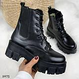 Женские ботинки ЗИМА черные на шнуровке натуральная кожа, фото 6