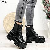 Женские ботинки ЗИМА черные на шнуровке натуральная кожа, фото 10