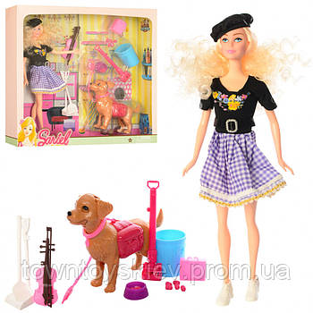 """Кукла-скрипачка с собачкой """"Sariel"""" 7726-A1"""