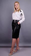 Марго. Кожаная юбка больших размеров. Черный. 54