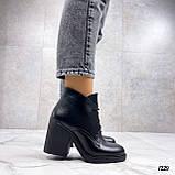Только 40 р 26 см! Женские ботильоны ЗИМА на шнурках черные на каблуке 8 см натуральная кожа, фото 6