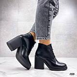 Только 40 р 26 см! Женские ботильоны ЗИМА на шнурках черные на каблуке 8 см натуральная кожа, фото 2