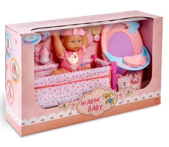 Пупс функціональний Warm Baby ліжечко,стільчик для годування,аксесуари
