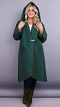 Сарена. Жіноче пальто-кардиган великих розмірів. Пляшка. 62-64