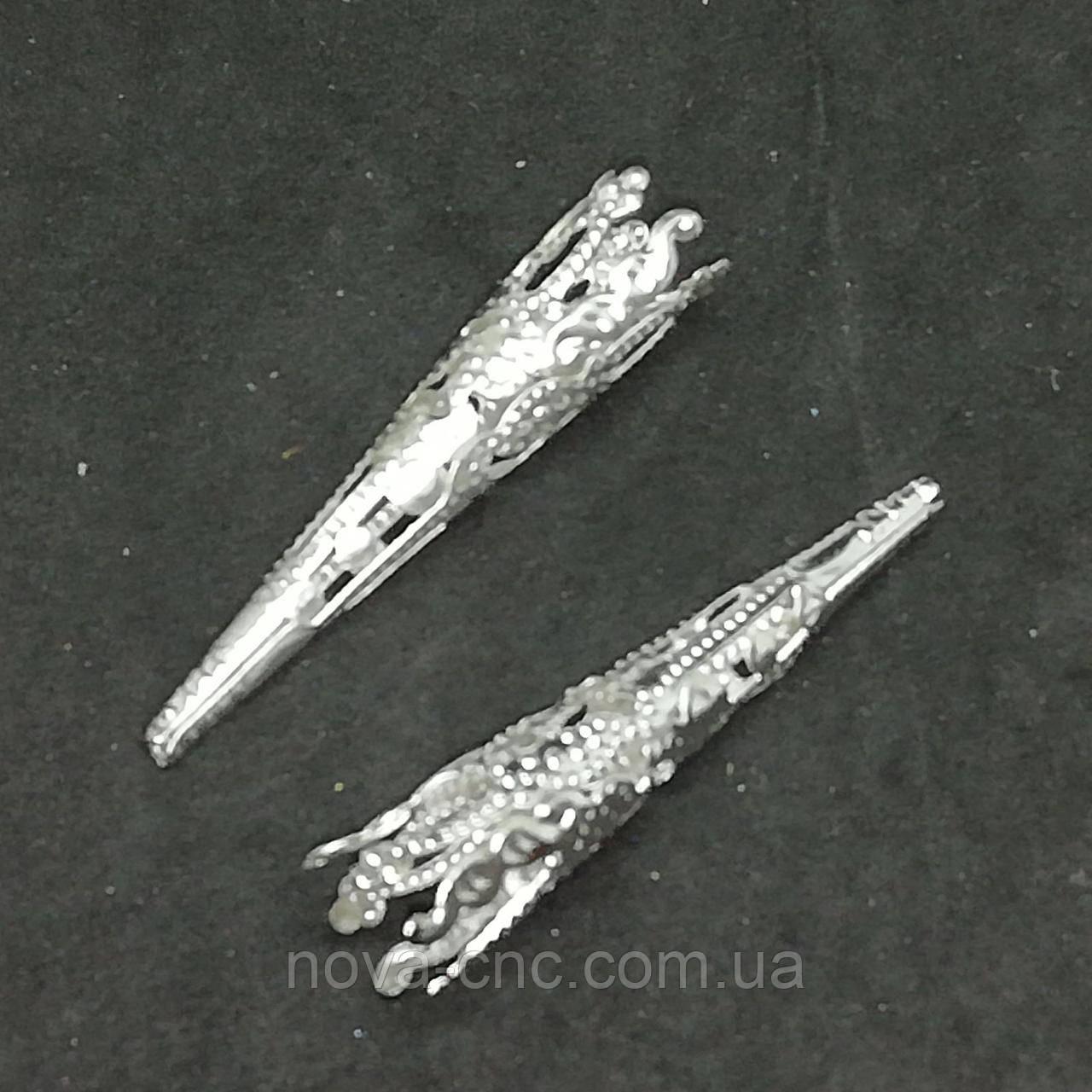 """Обниматель для бусин """"Когти"""" 40 мм 25 шт серебро"""