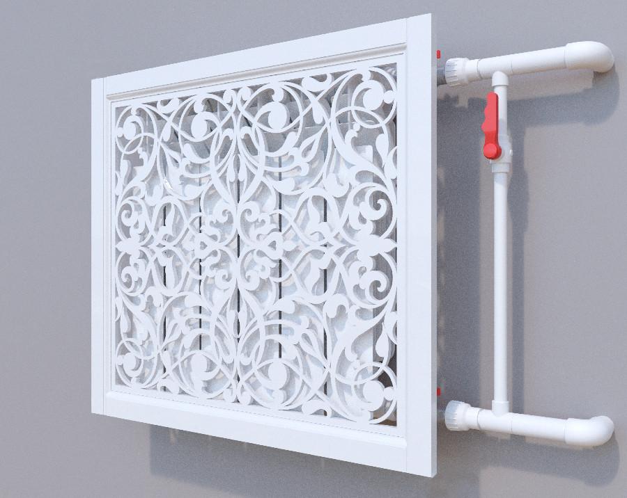 Декоративная решетка на батарею SMARTWOOD | Экран для радиатора | Накладка на батарею 600*600 Короб, Грунтованная, 600*1200